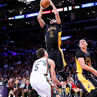 27 February 2015: Los Angeles Lakers guard Wayne Ellington (2) goes for the layup over Milwaukee Bucks guard Michael Carter-Williams (5) during the Los Angeles Lakers 101-93 victory over the Milwaukee Bucks, at the Staples Center, Los Angeles, California, USA.