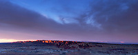 Panoramic Sunset Alpenglow on Fiery Furnace, Arches National Park, Utah