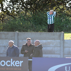 TELFORD COPYRIGHT MIKE SHERIDAN 29/9/2018 - A young Blyth fan finds a sunny vantage point during the Conference North fixture between Blyth Spartans and AFC Telford United at Croft Park, Blyth.
