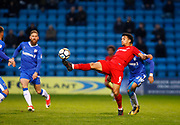 Leyton Orient's Macauly Bonne and Gillingham's Sean Clare during the The FA Cup match between Gillingham and Leyton Orient at the MEMS Priestfield Stadium, Gillingham, England on 4 November 2017. Photo by John Marsh.