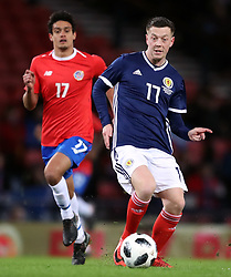Scotland's Callum McGregor (right) and Costa Rica's Yeltsin Tejeda battle for the ball during the international friendly match at Hampden Park, Glasgow.