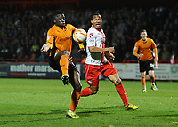 Football - 2013 / 2014 League One - Stevenage vs. Wolverhampton Wanderers<br /> <br /> Wolves' Nouha Dicko and Darius Charles at the Lamex Stadium.<br /> <br /> COLORSPORT/ANDREW COWIE