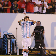 EAST RUTHERFORD, NEW JERSEY - JUNE 26:  Lionel Messi, #10 of Argentina on the half way line after missing a penalty in the penalty shoot out during the Argentina Vs Chile Final match of the Copa America Centenario USA 2016 Tournament at MetLife Stadium on June 26, 2016 in East Rutherford, New Jersey. (Photo by Tim Clayton/Corbis via Getty Images)