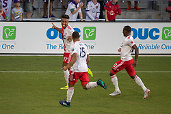 August 4, 2018 - Orlando, FL, U.S. - ORLANDO, FL - AUGUST 04: New England Revolution forward Juan Agudelo (17) celebrates after scoring a goal during the soccer match between the Orlando City Lions and the New England Revolution on August 4, 2018 at Orlando City Stadium in Orlando FL. (Photo by Joe Petro/Icon Sportswire) (Credit Image: © Joe Petro/Icon SMI via ZUMA Press)