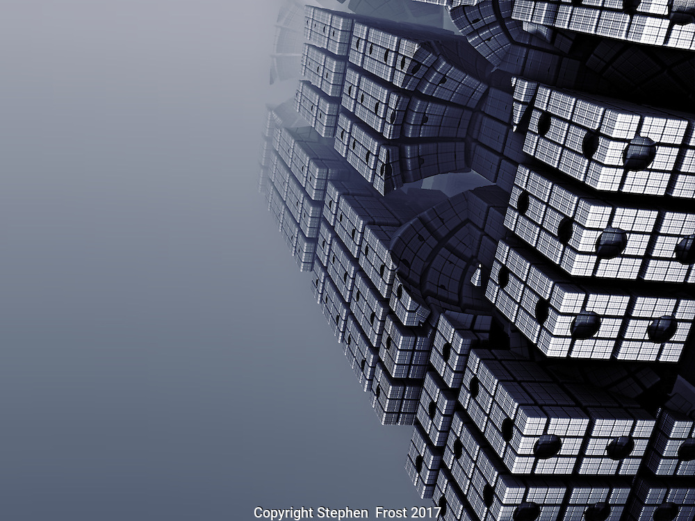 Digital image of a futuristic skyscraper produced by fractals.