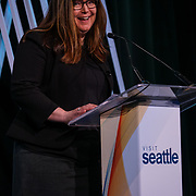 Visit Seattle Annual Meeting 2018. Tracey Wickersham (Director of Cultural Tourism). Photo by Alabastro Photography.