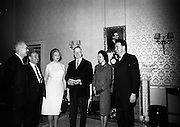 14/2/1966<br /> 2/14/1966<br /> 14 February 1966<br /> <br /> Conquer Cancer Campaign officials recived by president Éamon de Valera with Mr. Frank Doherty executive Officer, Dr. John P. O'Riordan Hon. Sec., Mrs Ruth Franchel President Canadian Cancer Society, Lady Antonia Waerdell and Mr John Burke at Áras an Uachtaráin