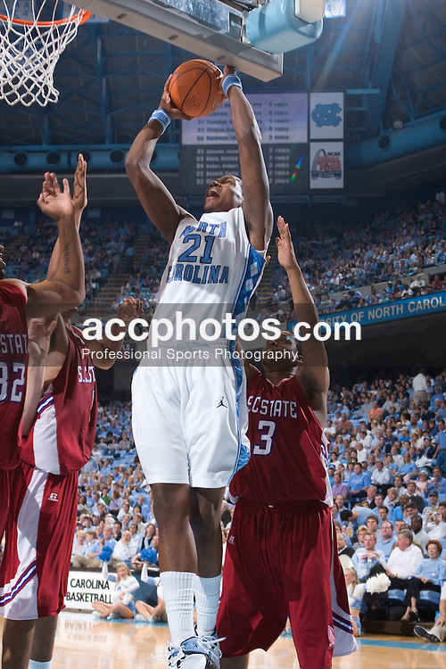 20 November 2007: North Carolina Tar Heels forward Deon Thompson (21) in a 110-64 win over South Carolina State at the Dean Smith Center in Chapel Hill, NC.