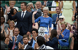 Image ©Licensed to i-Images Picture Agency. 28/06/2014, Wimbledon, London, United Kingdom. Judy Murray in the Royal box on Day 6 of the Wimbledon Tennis Championship. Picture by Andrew Parsons / i-Images