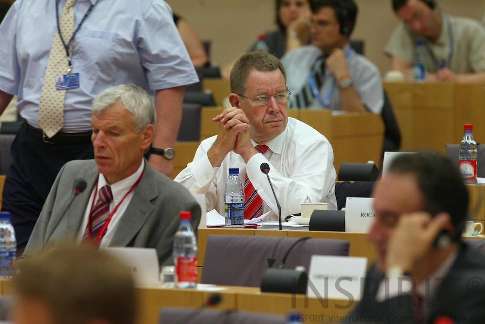 BRUSSELS -BELGIUM - 12 JULY 2006 -- Danish MEP Poul NYRUP RASMUSSEN during a committee meeting in the EP.  PHOTO: ERIK LUNTANG /