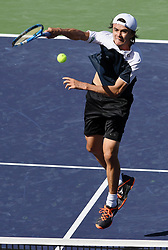 March 11, 2018 - Indian Wells, CA, U.S. - INDIAN WELLS, CA - MARCH 11: Taro Daniel (JPN) hits a ball at the net in the third set of a match played during the BNP Paribas Open played on March 11, 2018 at the Indian Wells Tennis Garden in Indian Wells, CA. (Photo by John Cordes/Icon Sportswire) (Credit Image: © John Cordes/Icon SMI via ZUMA Press)