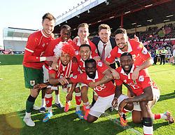 Back Row:<br /> Bristol City Goalkeeper, Dave Richards, Bristol City's Kieran Agard, Bristol City's Joe Bryan, Bristol City's Wes Burns, Bristol City's Derrick Williams<br /> <br /> Front Row:<br /> Bristol City's Korey Smith, James Tavernier, Karleigh Osborne and Jay Emmanuel-Thomas<br /> <br />  - Photo mandatory by-line: Dougie Allward/JMP - Mobile: 07966 386802 - 18/04/2015 - SPORT - Football - Bristol - Ashton Gate - Bristol City v Coventry City - Sky Bet League One