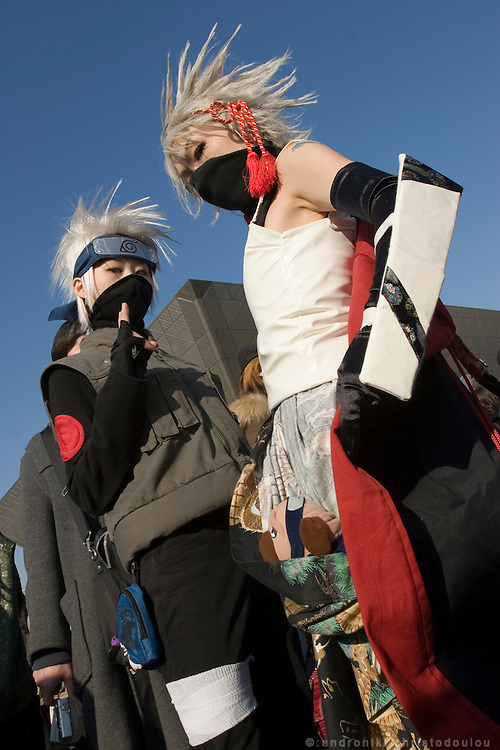 """Cosplayers dressed as """"Narutono Kakashi"""" anime character. TOKYO COMIC MARKET """"COMIKET"""" the biggest comic market in Japan. Independent designers come to sell their comics, there is anime, manga, cosplay, toys, posters etc. At """"Tokyo Big Sight"""" exhibition center."""