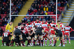 GloucesterSaracens front row line up at the scrum during the first half of the match - Photo mandatory by-line: Rogan Thomson/JMP - Tel: Mobile: 07966 386802 02/12/2012 - SPORT - RUGBY - Vicarage Road - Watford. Saracens v Gloucester Rugby - Aviva Premiership