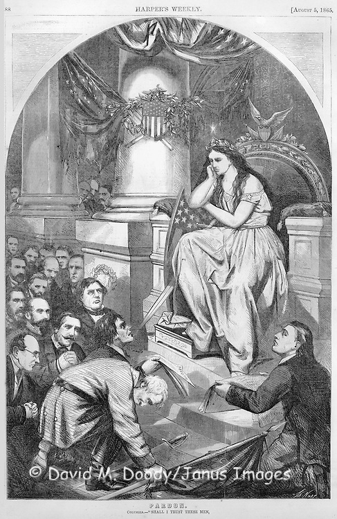 Detail of Thomas  Nast illustration. Civil War: August 1865 Harper's Weekly  Columbia (Lady Liberty) sits in judgment considering Pardon for the Rebel (Confederate) leaders at her feet.