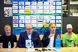 Head coach Ivo Jan, Miha Butara (president of HK SZ Olimpija), general manager Joze Kovac and Jure Sotlar at press conference of HK SZ Olimpija before new season 2020-21, on June 22, 2020 in Hala Tivoli, Ljubljana, Slovenia. Photo by Matic Klansek Velej / Sportida