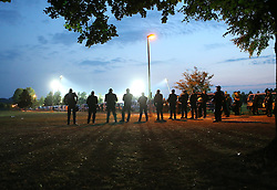 08.08.2015, Stadion an der Kreuzeiche, Reutlingen, GER, DFB Pokal, SSV Reutlingen 05 vs Karlsruher SC, im Bild Polizei Beamte sichern die Umgebung des Stadions // during German DFB Pokal first round match between SSV Reutlingen 05 and Karlsruher SC at the Stadion an der Kreuzeiche in Reutlingen, Germany on 2015/08/08. EXPA Pictures © 2015, PhotoCredit: EXPA/ Eibner-Pressefoto/ Fudisch<br /> <br /> *****ATTENTION - OUT of GER*****