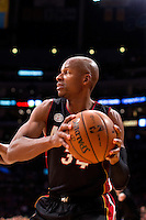 17 January 2013: Guard (34) Ray Allen of the Miami Heat looks to pass against the Los Angeles Lakers during the second half of the Heat's 99-90 victory over the Lakers at the STAPLES Center in Los Angeles, CA.