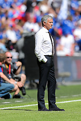 Manchester United manager Jose Mourinho looks on during the warm up - Rogan Thomson/JMP - 07/08/2016 - FOOTBALL - Wembley Stadium - London, England - Leicester City v Manchester United - The FA Community Shield.