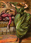 The Little Mermaid, having had her voice taken away in return for being made mortal, tries to win the Prince's love by dancing, even though every step fees as if she is dancing on knives.  Chromolithograph from an edition of Fairy Tales by Hans Christian Andersen published c1880.