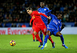 Roberto Firmino of Liverpool takes on Daniel Amartey of Leicester City - Mandatory by-line: Robbie Stephenson/JMP - 27/02/2017 - FOOTBALL - King Power Stadium - Leicester, England - Leicester City v Liverpool - Premier League