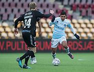 FODBOLD: Adnan Mohammad (FC Helsingør) med bolden under kampen i ALKA Superligaen mellem FC Helsingør og SønderjyskE den 4. marts 2018 på Right to Dream Park i Farum. Foto: Claus Birch.