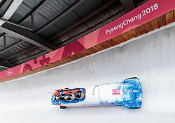 25.02.2018, Olympic Sliding Centre, Pyeongchang, KOR, PyeongChang 2018, 4er Bob, Herren, 3. Lauf, im Bild Jan Vrba, Jan Stoklaska, Dominik Suchy, David Egydy (CZE) // Jan Vrba Jan Stoklaska Dominik Suchy David Egydy (CZE) during the men's 4-man bob heat 3 for the Pyeongchang 2018 Winter Olympic Games at the Olympic Sliding Centre in Pyeongchang, South Korea on 2018/02/25. EXPA Pictures © 2018, PhotoCredit: EXPA/ Johann Groder