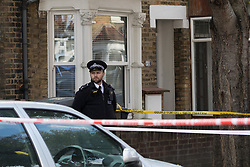 © Licensed to London News Pictures. 03/11/2017. LONDON, UK.  Police cordon on Walpole Road, Walthamstow where a fast food delivery driver was the victim of an attack where a corrosive substance, believed to be acid was thrown in his face.  Photo credit: Vickie Flores/LNP