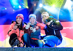 07, St. Moritz, SUI, FIS Weltmeisterschaften Ski Alpin, St. Moritz 2017, Super G, Damen, Siegerehrung, im Bild v.l.Tina Weirather (LIE, Silbermedaille), Nicole Schmidhofer (AUT, Weltmeisterin), Lara Gut (SUI, Bronzemedaille) // v.l.Tina Weirather (LIE, Silbermedaille), Nicole Schmidhofer (AUT, Weltmeisterin), Lara Gut (SUI, Bronzemedaille) during the winner ceremony for the ladie's SuperG of the FIS Ski World Championships 2017. St. Moritz, Switzerland on 2017/02/07. EXPA Pictures © 2017, PhotoCredit: EXPA/ Jonas Ericson