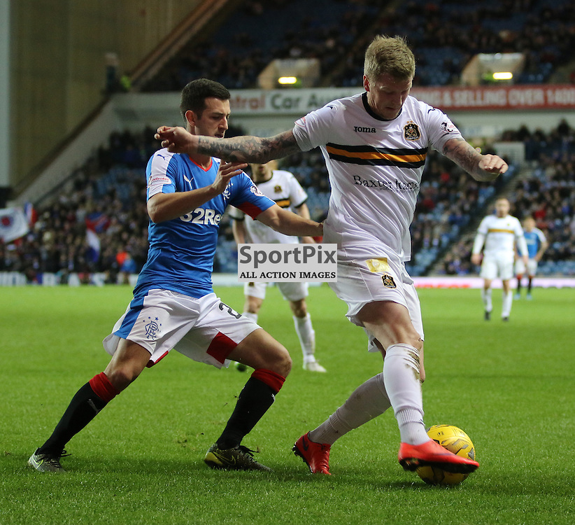 Willie Gibson is forced out wide during the Rangers v Dumbarton  Scottish Championship  1 December 2015 <br /> <br /> (c) Andy Scott | SportPix.org.uk