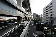 various levels of highway leading to the Rainbow Bridge Odaiba Tokyo Japan