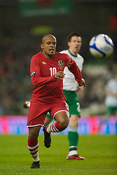 DUBLIN, IRELAND - Tuesday, February 8, 2011: Wales' Robert Earnshaw in action against the Republic of Ireland during the opening Carling Nations Cup match at the Aviva Stadium (Lansdowne Road). (Photo by David Rawcliffe/Propaganda)