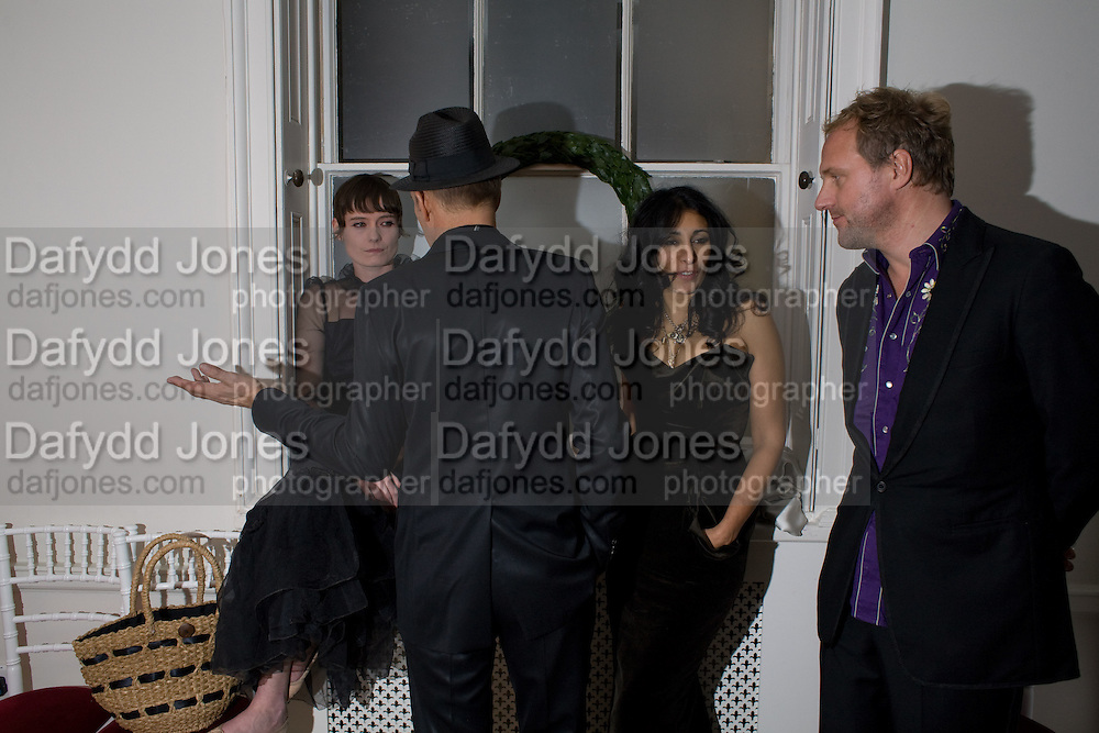 IRIS PALMER; PAUL SIMONON; SERENA REES; SIMON MILLS, Nicky Haslam party for Janet de Bottona nd to celebrate 25 years of his Design Company.  Parkstead House. Roehampton. London. 16 October 2008.  *** Local Caption *** -DO NOT ARCHIVE-© Copyright Photograph by Dafydd Jones. 248 Clapham Rd. London SW9 0PZ. Tel 0207 820 0771. www.dafjones.com.
