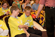 James Clancy Ardvarney National School Dromahair Co Leitrim .and James Devaney St Patrick's National Calry, Sligo,. at the Eason Spelling Bee in the Hotel Meyrick, Galway from where Ryan Tubridy's show was broadcast . Photo:Andrew Downes..