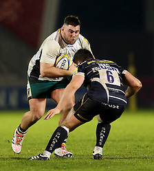 Kieran Brookes of Northampton Saints takes on Cameron Neild of Sale Sharks - Mandatory by-line: Matt McNulty/JMP - 03/03/2017 - RUGBY - AJ Bell Stadium - Sale, England - Sale Sharks v Northampton Saints - Aviva Premiership