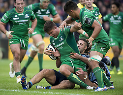 September 23, 2017 - Galway, Ireland - Dave Heffernan of Connacht tackled by Josh Navidi of Cardiff during the Guinness PRO14 Conference A match between Connacht Rugby and Cardiff Blues at the Sportsground in Galway, Ireland on September 23, 2017  (Credit Image: © Andrew Surma/NurPhoto via ZUMA Press)