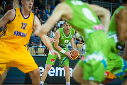 Uros Slokar of Slovenia during friendly basketball match between National teams of Slovenia and Ukraineat day 1 of Adecco Cup 2015, on August 21 in Koper, Slovenia. Photo by Grega Valancic / Sportida