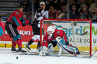 KELOWNA, CANADA - MARCH 16: Roman Basran #30 of the Kelowna Rockets defends the net against the Vancouver Giants on March 16, 2019 at Prospera Place in Kelowna, British Columbia, Canada.  (Photo by Marissa Baecker/Shoot the Breeze)