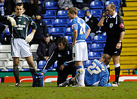 Photo: Leigh Quinnell.<br /> Birmingham City v Newcastle United. The FA Cup. 06/01/2007. Birminghams Nicklas Bendtner waits for a stetcher after an injury.