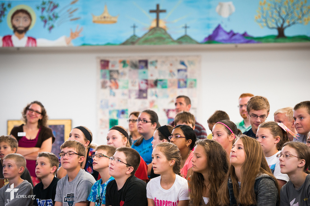 Students listen to an Owen's Mission presentation at Trinity Lutheran School on Monday, August 31, 2015, in Bloomington, Ill. LCMS Communications/Erik M. Lunsford