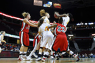 13 March 2010:   Toledo's Yolanda Richardson (33) gets a rebound during the MAC Tournament game basketball game between Ball State and Toledo and  at Quicken Loans Arena in Cleveland, Ohio.