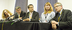 LtoR Joan Smith .Steve Coogan .Dr Evan Harris.Michelle Stanistreet - NUJ .Brian Cathcart at the Hacked off Press Conference during the Liberal Democrats Annual Conference in Brighton, Tuesday September 25, 2012. Photograph by Elliott Franks / i-Images