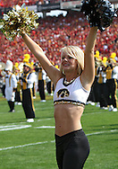 September 12, 2009: A member of the Iowa dance team before the start of the Iowa Hawkeyes' 35-3 win over the Iowa State Cyclons at Jack Trice Stadium in Ames, Iowa on September 12, 2009.