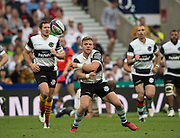 Twickenham, Surrey, United Kingdom.  Ian MADIGAN, passing the along the line, during the, Old Mutual Wealth Cup, England vs Barbarian's match, played at the  RFU. Twickenham Stadium, on Sunday   28/05/2017England    <br /> <br /> [Mandatory Credit Peter SPURRIER/Intersport Images]
