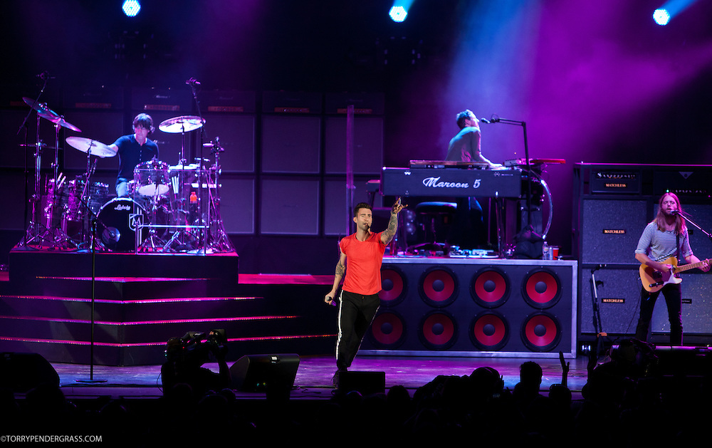 "Adam Levine, Matt Flynn (drums), Jesse Carmichael (keys), James Valentine of Maroon 5 perform at the Hollywood Bowl in support of ""Hands All Over"" on July 25, 2011 in Los Angeles, California."