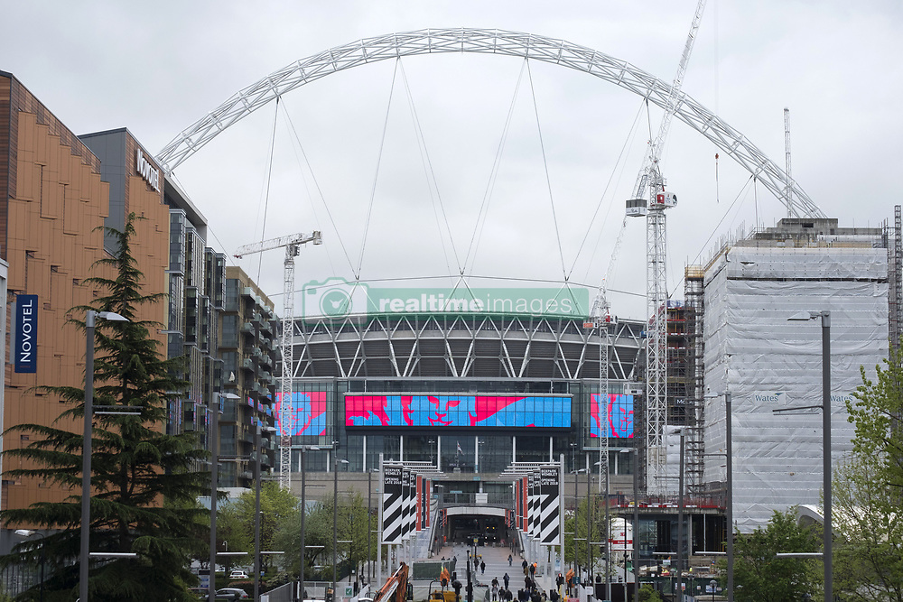 April 27, 2018 - London, London, United Kingdom - A general view of the exterior of Wembley Stadium and its world famous arch. It is reported that the Football Association (FA) has received a bid of GBP800m from Shahid Khan, owner of Fulham FC and the Jacksonville Jaguars NFL franchise, to purchase the stadium. (Credit Image: © Ray Tang via ZUMA Press)