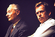 November 24, 1989. Prague, Czechoslovakia. Press conference with Alexander Dubcek (l.) and Vaclav Havel (r.) at Camera Obscura Club. (Photo Heimo Aga)
