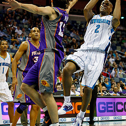 February 2, 2012; New Orleans, LA, USA; New Orleans Hornets point guard Jarrett Jack (2) shoots over Phoenix Suns point guard Steve Nash (13) during the first quarter of a game at the New Orleans Arena.   Mandatory Credit: Derick E. Hingle-US PRESSWIRE