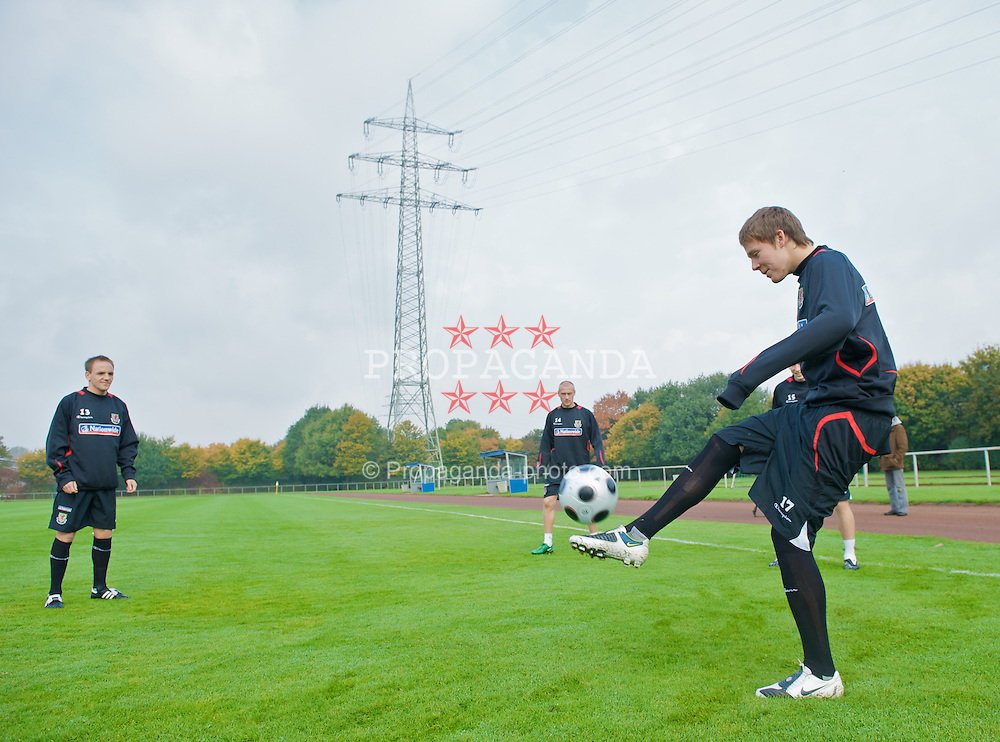 DU?SSELDORF, GERMANY - Tuesday, October 14, 2008: Wales' Chris Gunter during training at Neuss Gnadental ahead of the 2010 FIFA World Cup South Africa Qualifying Group 4 match against Germany. (Photo by David Rawcliffe/Propaganda)