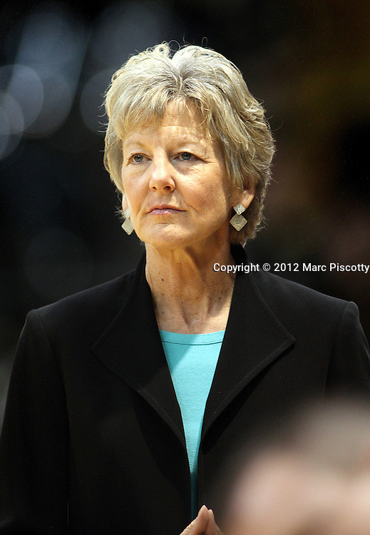 SHOT 1/21/12 4:38:57 PM - Former Colorado women's basketball coach and current associate AD Ceal Barry watches as Colorado plays against Arizona during their PAC 12 regular season men's basketball game at the Coors Events Center in Boulder, Co. Colorado won the game 64-63..(Photo by Marc Piscotty / © 2012)